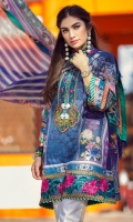 Printed shirt front (pima lawn) Printed shirt back (pima lawn) Printed sleeves (pima lawn) Digital printed dupatta (tissue silk) Printed trouser (cambric) Digital printed border Embroidered neck patch Embroidered border Embroidered pant border