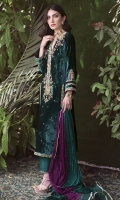 Impeccably constructed and cut from plush velvet in an opulent emerald hue, richly adorned gold hand-embellishments and silk thread work in vibrant shades of magenta and fuchsia. This universally flattering silhouette is the ultimate choice for any occasion this festive season!  * Crush Silk Dupatta included.