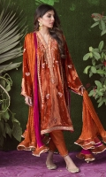 The ultimate must-have colour for this winter's festivities. This forever flattering silhouette is cut from a plush velvet in the most stunning shade of burnt orange. Adorned with intricate gold embellishments and silk thread-work in magenta this is going to be your immediate choice for an unforgettable wedding look!  * Crush Silk Dupatta included.