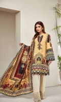 PRINTED LAWN SHIRT PRINTED LAWN BACK & SLEEVES PRINTED SILK DUPATTA EMBROIDERED NECKLINE PATCH EMBROIDERED TROUSER PATCH DYED ORGANZA DYED CAMBRIC LAWN TROUSER
