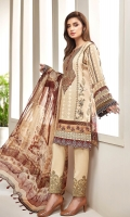 PRINTED LAWN SHIRT PRINTED LAWN BACK & SLEEVES PRINTED SILK DUPPATA EMBROIDERED NECKLINE PATCH EMBROIDERED TROUSER PATCH DYED CAMBRIC LAWN TROUSER