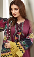 PRINTED LAWN SHIRT PRINTED LAWN BACK & SLEEVES PRINTED SILK DUPATTA EMBROIDERED NECKLINE PATCH EMBROIDERED TROUSER PATCH DYED CAMBRIC LAWN TROUSER