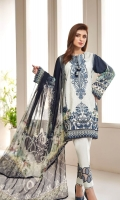 PRINTED LAWN SHIRT PRINTED LAWN BACK & SLEEVES PRINTED CHIFFON DUPATTA EMBROIDERED NECKLINE PATCH EMBROIDERED TROUSER PATCH DYED CAMBRIC LAWN TROUSER