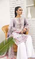 PRINTED LAWN FRONT PRINTED LAWN BACK & SLEEVES PRINTED CHIFFON DUPATTA EMBROIDERED NECKLINE PATCH EMBROIDERED CAMBRIC LAWN TROUSER