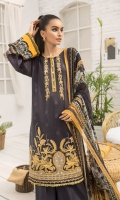 EMBROIDERED LAWN FRONT PRINTED LAWN BACK & SLEEVES PRINTED CHIFFON DUPATTA EMBROIDERED NECKLINE PATCH DYED CAMBRIC LAWN TROUSER