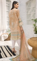 PRINTED LAWN FRONT PRINTED LAWN BACK & SLEEVES PRINTED CHIFFON DUPATTA EMBROIDERED NECKLINE PATCH DYED CAMBRIC LAWN TROUSER