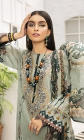 PRINTED LAWN FRONT PRINTED LAWN BACK & SLEEVES PRINTED SILK DUPATTA EMBROIDERED NECKLINE PATCH DYED CAMBRIC LAWN TROUSER