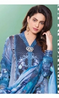 Three Piece Digital Suit With Silk Dupatta