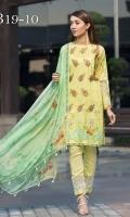 Digital Printed Shirt  Embroidered Organza Neckline Dyed Trouser Digital Printed Chiffon Dupatta