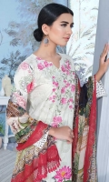 Lawn Digital Print Embroidered Shirt Front1.30 yards Digital Print Shirt Back and Sleeves2.00 yards Digital Print Bamber Chiffon Dupatta2.65 yards Dyed Cambric Trouser2.65 yards Shirt Front Border on Tissue 3001 piece