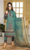 Embroidered Viscose Shirt Printed Chiffon Dupatta Dyed Trouser