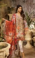 Digital printed Shirt: 3 mt Printed Trouser: 2.5 mtr Chiffon Dupatta: 2.5 mtr   Add On    Embroidered Motif: 2pcs Embroidered Lace: 1 mtr Embroidered Border: 1pc