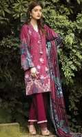 Three Piece Embroidered Twill Linen Suit With Staple Wool Shawl