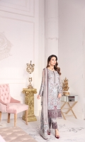 Embroidered Chiffon Front Embroidered Chiffon Side Panel Plain Chiffon Back Embroidered Chiffon Sleeves Embroidered Chiffon Dupatta Embroidered Chiffon Dupatta Pallu Embroidered Organza Border for Front Embroidered Organza Border for Back Embroidered Organza Border for Sleeves Embroidered Organza Border for Trouser Dyed Trouser