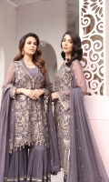 Embroidered Chiffon Front Embroidered Chiffon Side Panel Embroidered Chiffon Back Embroidered Chiffon Sleeves Embroidered Chiffon Dupatta Embroidered Organza Border for Front Embroidered Organza Border for Back Embroidered Organza Border for Sleeves Embroidered Chiffon Dupatta Pallu Dyed Trouser