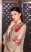 Embroidered Chiffon Front Embroidered Chiffon Side Pannel Plain Chiffon Back Embroidered Chiffon Sleeves Embroidered Chiffon Dupatta Embroidered Organza Border For Front Embroidered Organza Border For Back Embroidered Organza Border For Sleeves Embroidered Organza Border For Neck Line Dyed Trouser