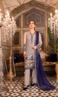 Embroidered Chiffon Front Plain Chiffon Back Embroidered Chiffon Sleeves Stone Embellished Chiffon Dupatta (Contrast) Embroidered Organza Border For Front Embroidered Organza Border For Back Embroidered Organza Border For Neck Line Embroidered Organza Border For Dupatta Dyed Trouser