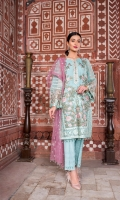 Embroidered Chiffon Front Embroidered Chiffon Side Pannel Plain Chiffon Back Embroidered Chiffon Sleeves Embroidered Net Dupatta (Contrast) Embroidered Chiffon Border For Back Embroidered Organza Border For Front Embroidered Organza Border For Back Embroidered Organza Border For Sleeves Dyed Trouser