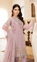 CHIFFON DUPATTA FRONT EMBROIDERED BACK EMBROIDERED SLEEVE EMBROIDERED  DYED TROUSER