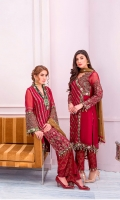 Embroidered Chiffon Front Embroidered Chiffon Front Body Plain Chiffon Front Plain Chiffon Back Embroidered Chiffon Sleeves Embroidered Chiffon Dupatta Contrast Embroidered Organza Border for Sleeves + Front Panel + Neckline Embroidered Organza Border for Front Back Neckline Raw Silk Trouser