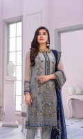 Embroidered Chiffon Front Center Panel Embroidered Chiffon Front Left Panel Embroidered Chiffon Front Right Panel Plain Chiffon Back Embroidered Chiffon Sleeves Embroidered Chiffon Dupatta Contrast Embroidered Organza Border for Front & Back Dyed Trouser