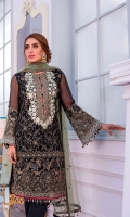 Embroidered Chiffon Front Dust Print Back Embroidered Chiffon Sleeves Embroidered Net Dupatta Contrast Embroidered Organza Neckline Embroidered Organza Border for Front & Back Embroidered Organza Border for Sleeves Embroidered Organza Border for Dupatta Dyed Trouser