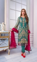 Embroidered Chiffon Front Embroidered Chiffon Side Panel Plain Chiffon Back Embroidered Chiffon Sleeves Embroidered Chiffon Dupatta Contrast Embroidered Organza Daman for Front Embroidered Organza Border for Back Embroidered Organza Border for Sleeves Embroidered Silk Border for Dupatta Pallu Dyed Trouser