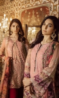 """Embroidered Chiffon Front 0.72 Yard Embroidered Chiffon Front Kali 0.33 Yard Embroidered Chiffon Back 0.88 Yard Embroidered Chiffon Sleeves 0.72 Yard Digital Printed Chiffon Dupatta 2.70 Yards Raw Silk Trousers (Contrast) 2.5 Yards"