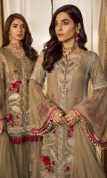 """Embroidered Chiffon Front 0.72 Yard Embroidered Chiffon Front Kali 0.33 Yard Embroidered Chiffon Back 0.88 Yard Embroidered Chiffon Sleeves 0.72 Yard Embroidered Chiffon Sleeves Upper 2.00 PCs Plain Net Sleeves 02 2.15 Yards Embroidered Net Dupatta Pallu 2.70 Yards Embroidered Organza Front Back Patti 2.00 Yards Embroidered Organza Dupatta Pallu Patch 2.00 PCs Embroidered Organza Sleeves Patti 2.15 Yards Raw Silk Trousers 2.5 Yards"