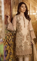 """Embroidered Chiffon Front (Stone Spray) 0.72 Yard Embroidered Chiffon Front Kali 0.33 Yard Embroidered Chiffon Back 0.88 Yard Plain Chiffon Sleeves 0.72 Yard Embroidered Chiffon Dupatta 2.70 Yards Embroidered Organza Front Patti 1.00 Yard Embroidered Organza Back Patti 1.44 Yards Embroidered Organza Sleeves Patti 2.5 Yards Raw Silk Trouser 2.5 Yards"