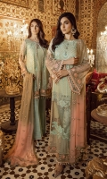 """Embroidered Chiffon Front 0.72 Yard Embroidered Chiffon Front Kali 0.33 Yard Embroidered Chiffon Back 0.88 Yard Embroidered Chiffon Sleeves 0.72 Yard Embroidered Chiffon Dupatta (Tie And Die) 2.70 Yards Embroidered Chiffon Back Motif 1.00 PC Embroidered Organza Front Patti 1.00 Yard Raw Silk Trousers 2.5 Yards Actual color may slightly vary from the image shown"""