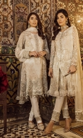 """Embroidered Chiffon Front 0.72 Yard Embroidered Chiffon Front Kali 0.33 Yard Embroidered Chiffon Back 0.88 Yard Plain Chiffon Sleeves 0.72 Yard Embroidered Chiffon Sleeves Upper 2.00 PCs Embroidered Net Dupatta 2.70 Yards Hand Made Front Daman 1.00 Yard Hand Made Sleeves Cuff 1.00 Yard Hand Made Gala Patch 1.00 PC Raw Silk Trousers 2.5 Yards"