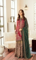 Embroidered Chiffon Front Embroidered Chiffon Side Pannel Embroidered Chiffon Back Embroidered Chiffon Sleeves Embroidered Chiffon Dupatta (Contrast) Embroidered Organza Border For Front Embroidered Organza Border For Back Embroidered Organza Border For Sleeves Embroidered Organza Border For Trouser Dyed Trouser