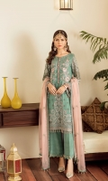 Embroidered Chiffon Front Embroidered Chiffon Side Pannel Embroidered Chiffon Back Embroidered Chiffon Sleeves Embroidered Chiffon Dupatta (Contrast) Embroidered Organza Border For Front Embroidered Organza Border For Back Embroidered Organza Border For Sleeves Dyed Trouser