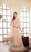 Embroidered Chiffon Front Embroidered Chiffon Side Pannel Plain Chiffon Back Embroidered Chiffon Sleeves Embroidered Chiffon Dupatta (Contrast) Embroidered Organza Border For Front Embroidered Organza Border For Back Embroidered Organza Border For Sleeves Dyed Trouser