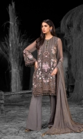 Embroidered Chiffon Front Embroidered Chiffon Side Panels Plain Chiffon Back Embroidered Chiffon Sleeves Stone Embellished Chiffon Dupatta Embroidered Organza Border For Front Embroidered Organza Border For Back Embroidered Organza Neck line Patch ( Hand Made ) Embroidered Silk Border For Dupatta ( Contrast ) Dyed Trouser