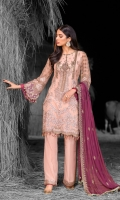 Embroidered Chiffon Front Embroidered Chiffon Side Panels Embroidered Chiffon Back Embroidered Chiffon Sleeves Embroidered Chiffon Dupatta ( Contrast ) Embroidered Organza Motive For Front ( Hand Made ) Embroidered Organza Border For Back Embroidered Organza Border For Trouser Dyed Trouser