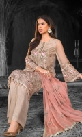 Embroidered Chiffon Front Embroidered Chiffon Side Panels Plain Chiffon Back Embroidered Chiffon Sleeves Embroidered Chiffon Dupatta ( Contrast ) Embroidered Organza Border For Front Embroidered Organza Border For Back Dyed Trouser