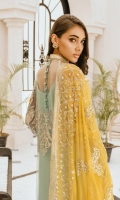 EMBROIDERED NET HAND MADE FRONT BACK AND SLEEVES EMBROIDERED HAND MADE DAMAN PATCH EMBROIDERED CHIFFON DUPPATA JAMAWAR TROUSER AND ECCESSORIES