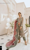 EMBROIDERED CHIFFON HAND MADE FRONT BACK AND SLEEVES EMBROIDERED HAND MADE DAMAN PATCH EMBROIDERED CHIFFON DUPPATA GRIP TROUSER AND ACCESSORIES