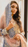 EMBROIDERED NET HANDMADE BODICE AND SLEEVES EMBROIDERED GRIP HANDMADE SLEEVES PATTI EMBROIDERED NET FRONT< BACK AND BACK BODICE EMBROIDERED GRIP FRONT AND BACK DAMAN PATTI EMBROIDERED NET DUPATTA WITH GRIP PATTI PATCH GRIP TROUSER