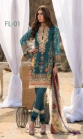 Lawn Embroidered Front Printed back & Sleeves Printed Bamber Chiffon dupatta Dyed Trouser