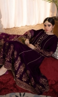 Shirt: Velvet (Screen Printed) Frock Color:Purple Trouser: Silk Dupatta: Silk (Screen Printed)