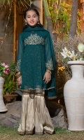Screen printed peplum style shirt with embroidered high neckline Bell sleeves  with embroidery Paired with gharara pants Dupatta with lace finishing
