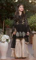 Peplum shirt with embroidery motif on hemline and gharara pants net duppatta