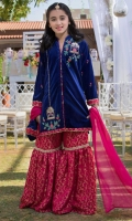 Front open style shirt with handwork on front and sleeves, banarsi contrasting gharara pants, dupatta and pouch also.