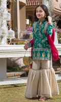 Short shirt with aari embroidery and lace, paires with gharara pants and dupatta with lace finishings
