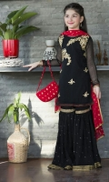 Black chiffon top  Round neckline front embroidered and hand worked.  Black sequined chiffon gharara.  Red banarsii dupatta.