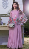 Pink plain cape style maxi.. full embroidered and handwork cape inner ..