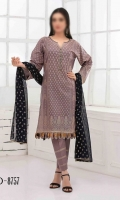 3 Piece 100% Fine Cotton Embossed T-Print Suit , Embossed T-Print Chiffon Fabric For Dupatta , Dyed Fine Cotton Fabric For Trouser / Shalwar.